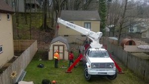 Removing an old shed at the Twin Oaks Inn Bed and Breakfast