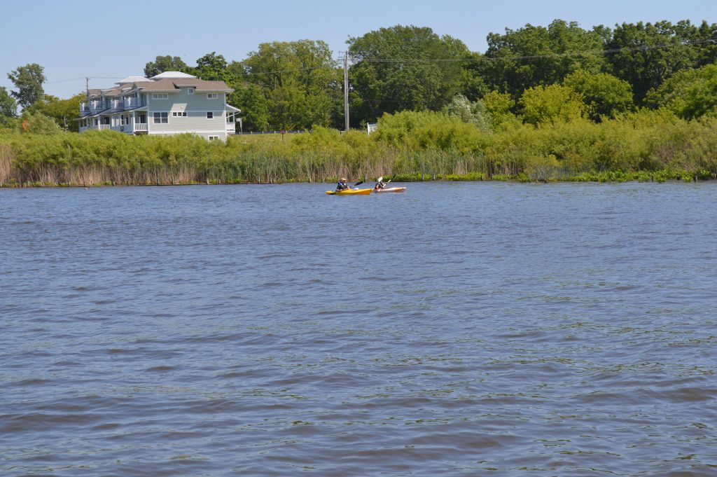 Kayakers near Saugatuck, MI enjoy quiet waters and a refreshing paddle along the shore
